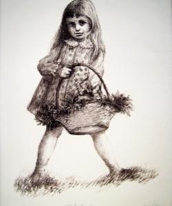 Little Girl & Flower Basket